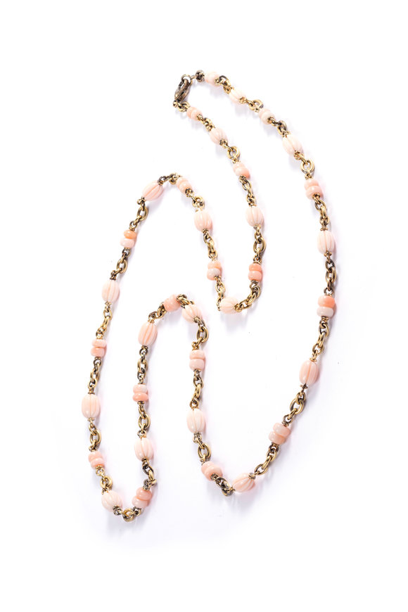 Sylva & Cie 18K Yellow Gold Pink Coral Carved Bead Necklace