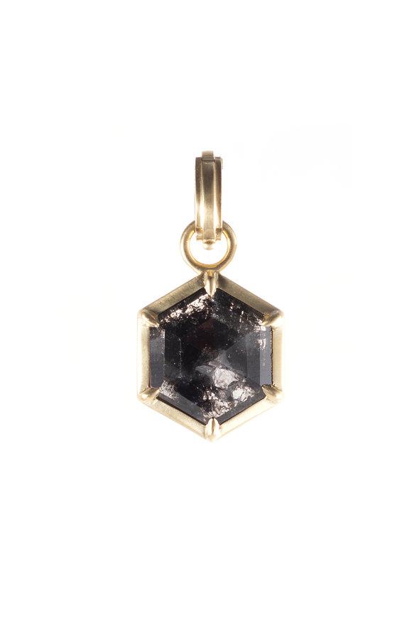 Sylva & Cie 18K Yellow Gold Rough Cut Diamond Hexagon Pendant