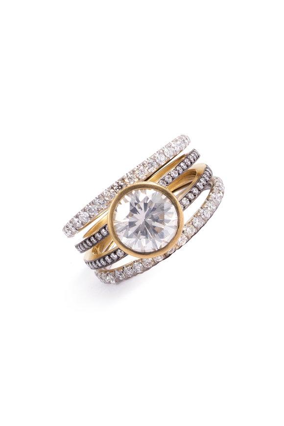 Sylva & Cie Yellow Gold & Platinum Diamond Spiral Ring