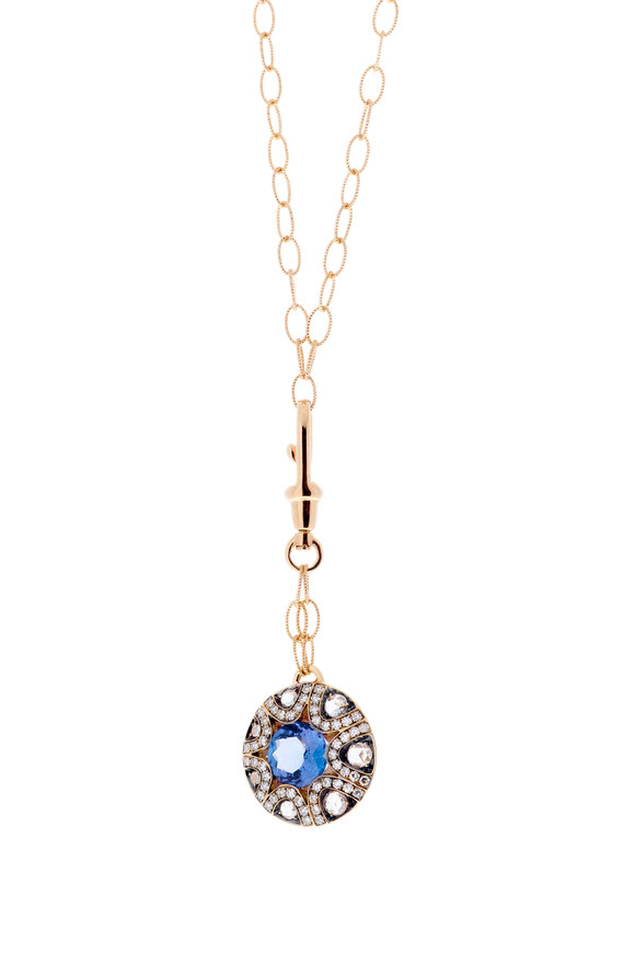 Selim Mouzannar Rose Gold Tanzanite & Diamond Necklace