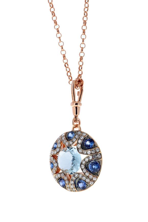 Selim Mouzannar Rose Gold Diamond, Sapphire & Aquamarine Necklace