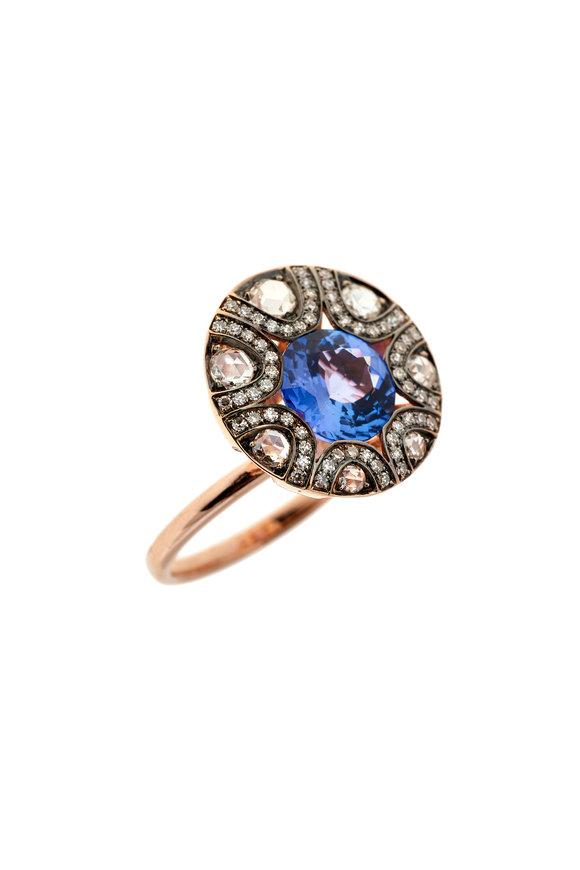 Selim Mouzannar Rose Gold Tanzanite & Diamond Ring