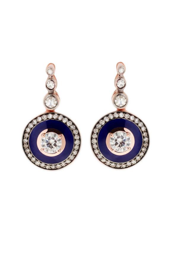 Selim Mouzannar Rose Gold Navy Enamel & Diamond Drop Earrings
