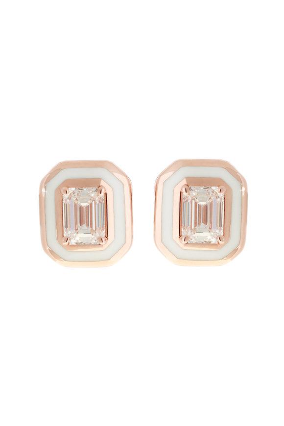 Selim Mouzannar Rose Gold Ivory Enamel & Diamond Studs