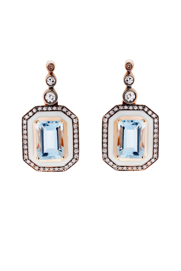 Selim Mouzannar Ivory Enamel, Diamond & Aquamarine Drop Earrings