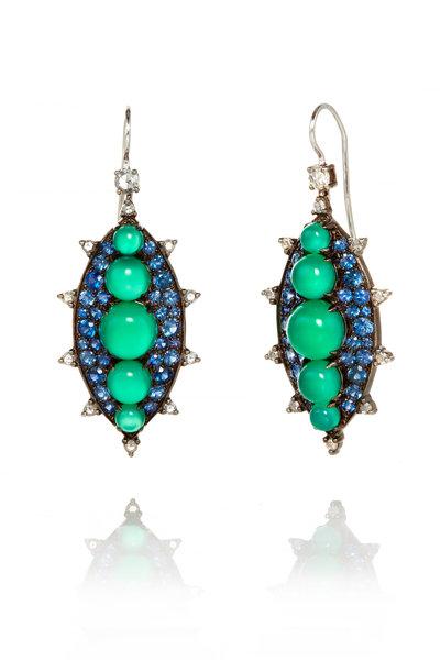 Nam Cho - White Gold Green Onyx, Sapphire & Diamond Earrings
