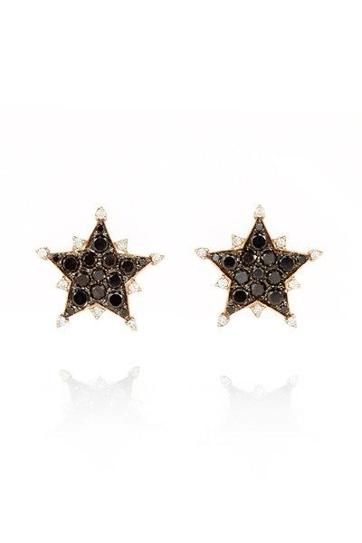 Nam Cho - 18K White Gold Black & White Diamond Star Earrings