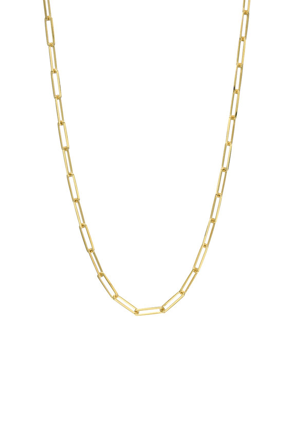 Dru 14K Yellow Gold Small Long Link Chain Necklace