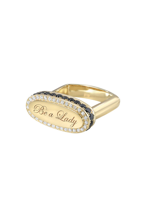 Dru 14K Yellow Gold Diamond Be A Lady Singet Ring