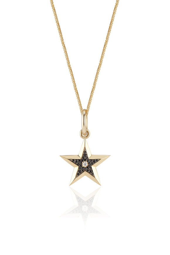 Dru Yellow Gold  Black Diamond Star Pendant Necklace