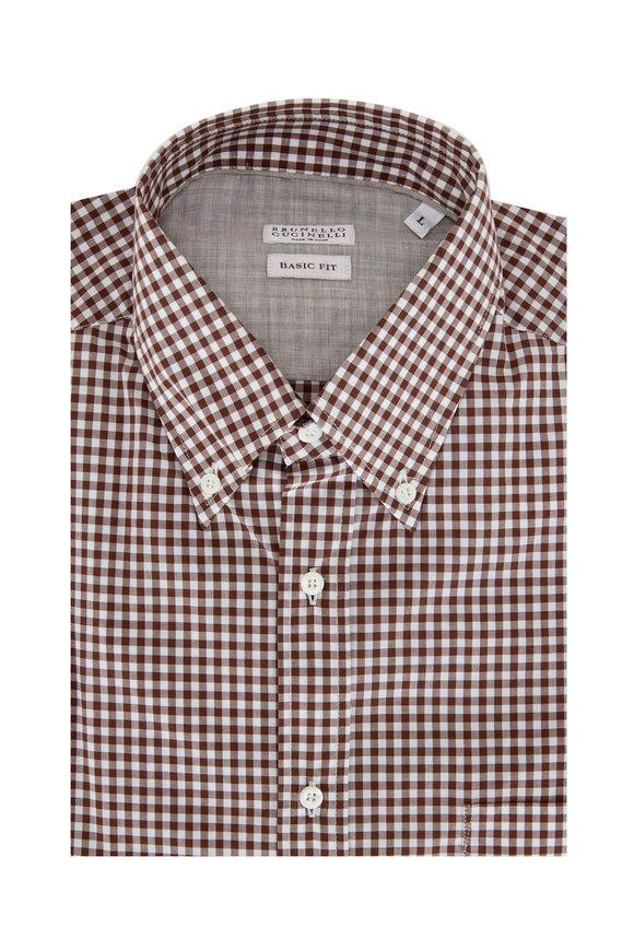 Brunello Cucinelli Brown Mini Check Basic Fit Sport Shirt