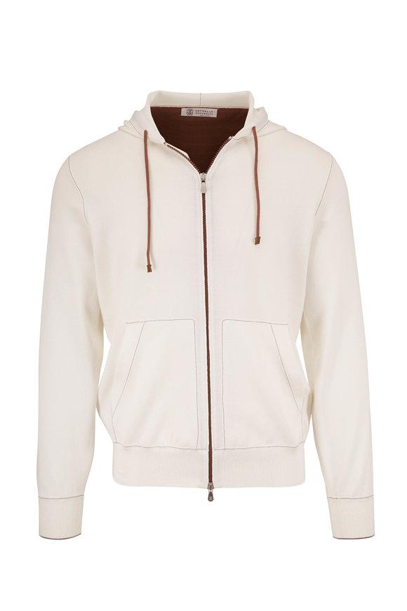 Brunello Cucinelli White Cotton Lightweight Zip Hoodie
