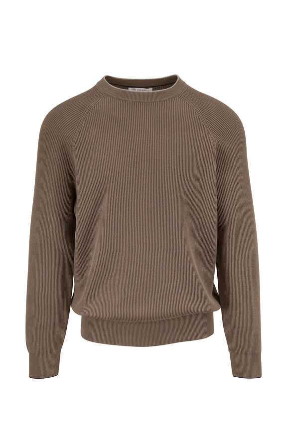 Brunello Cucinelli Green Ribbed Crewneck Sweater