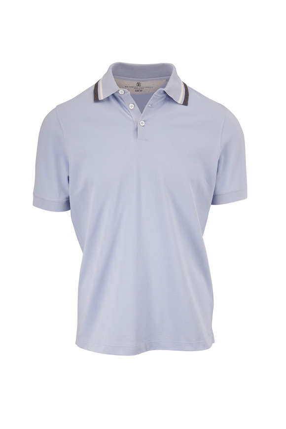Brunello Cucinelli Light Blue Piqué Slim Fit Polo