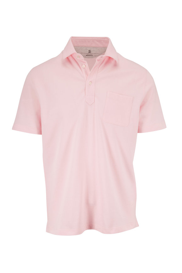 Brunello Cucinelli Pink Piqué Pocket Polo