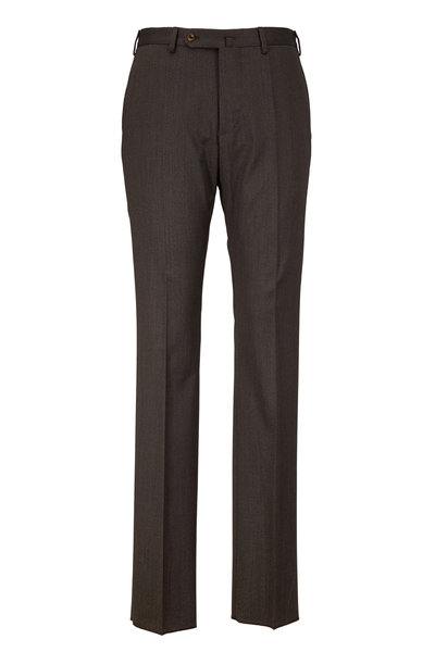 Incotex - Benson Dark Olive Stretch Wool Trousers