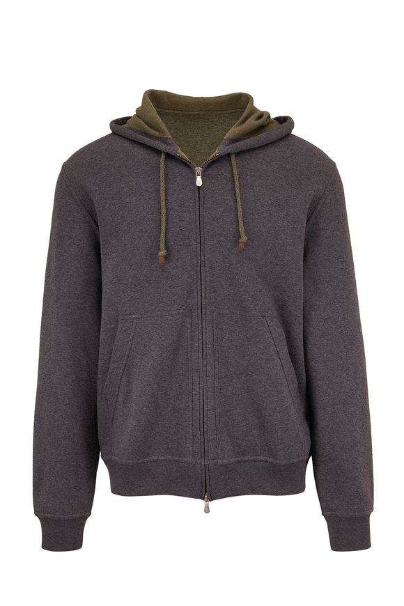 Brunello Cucinelli Green & Gray Full Zip Hoodie