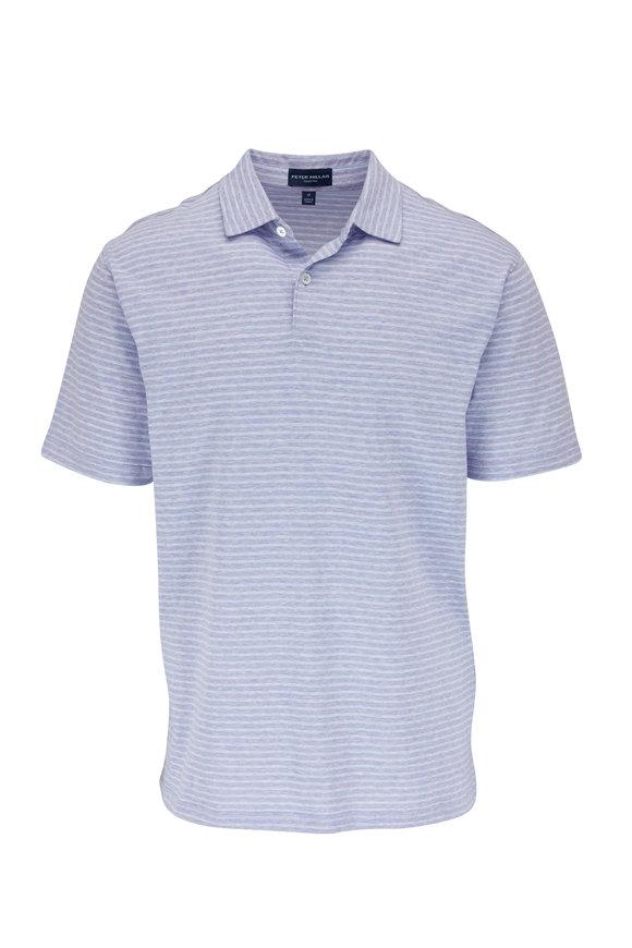 Peter Millar Lavender Striped Short Sleeve Polo