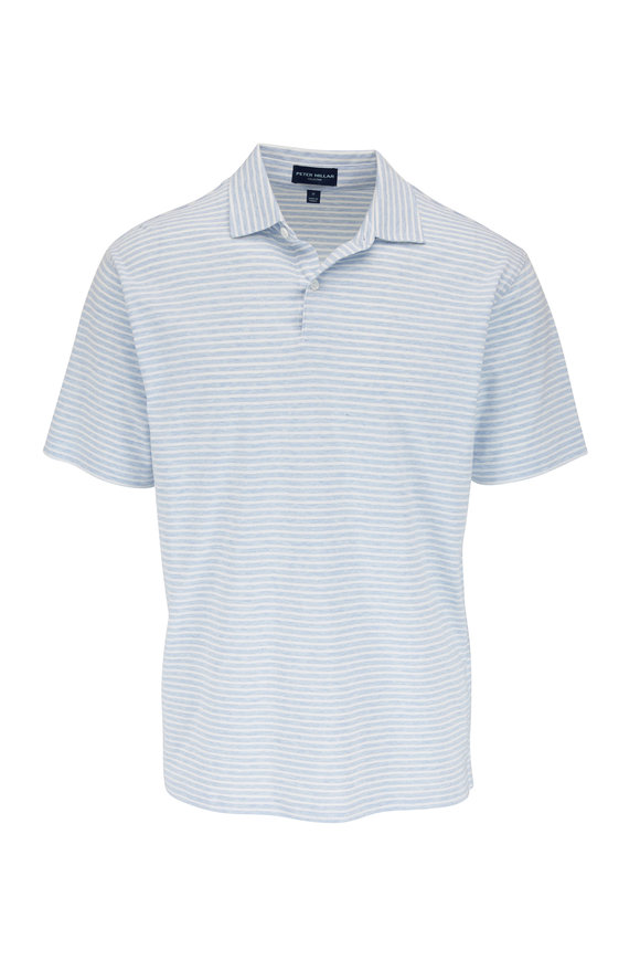 Peter Millar Light Blue & White Striped Short Sleeve Polo