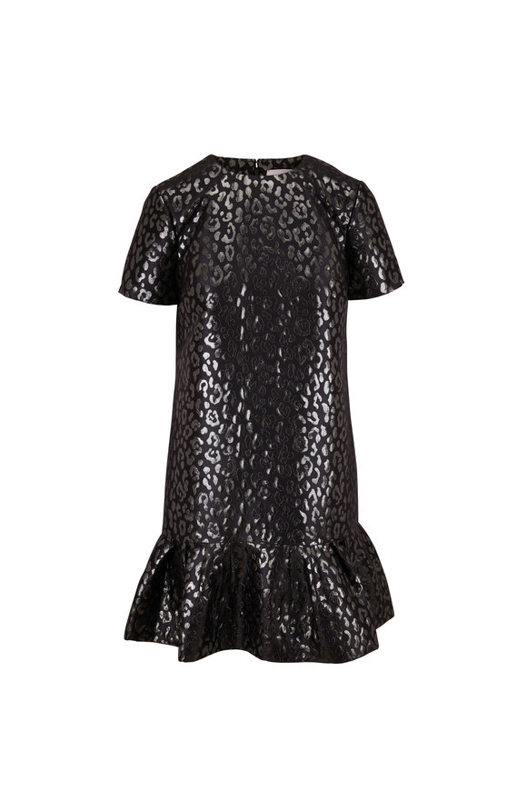 Carolina Herrera Back Lurex Leopard Print Shift Dress