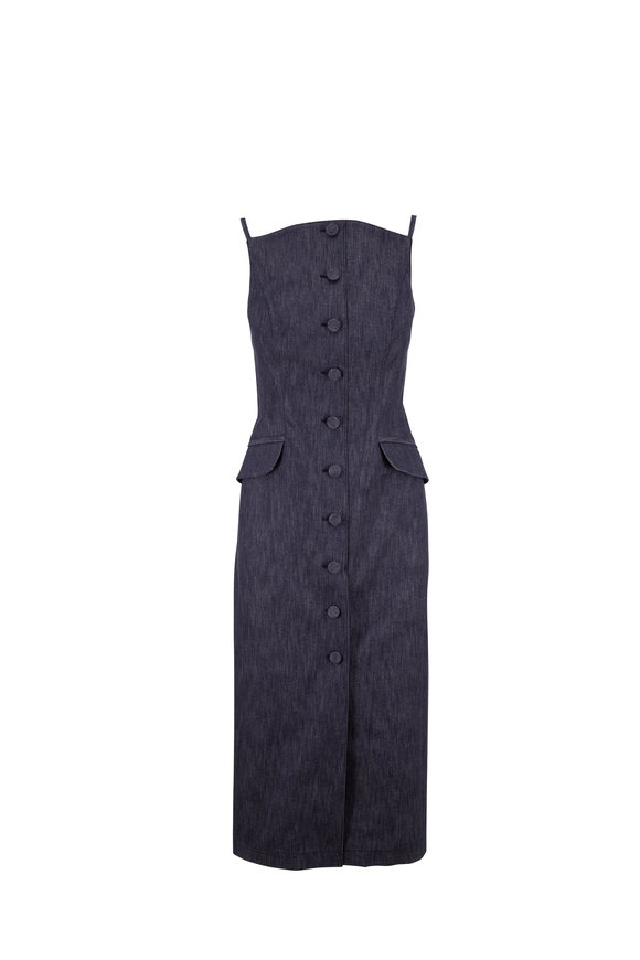 Carolina Herrera Denim Button-Down Sleeveless Pencil Dress