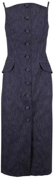 Carolina Herrera Denim Button-Down Sleeveless Pencil Dress