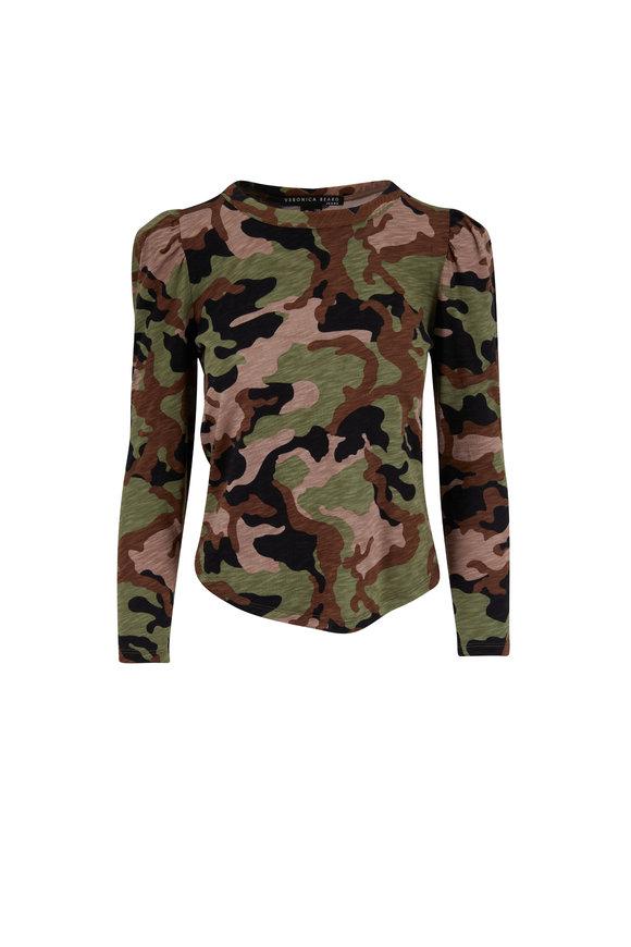 Veronica Beard Porter Pouf Sleeve Army Multi T-Shirt