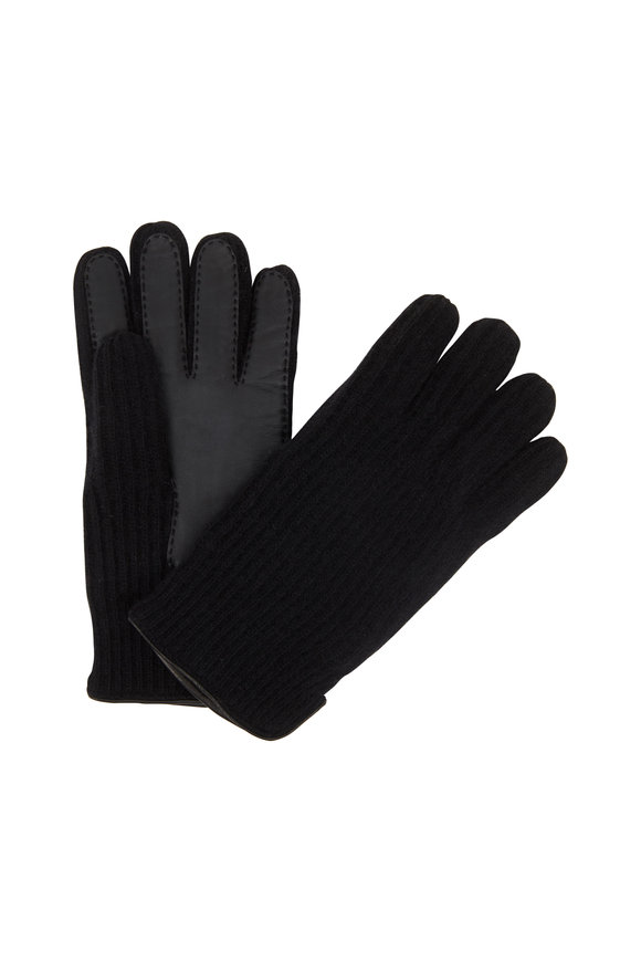 Portolano Black Ribbed Cashmere Tech Gloves