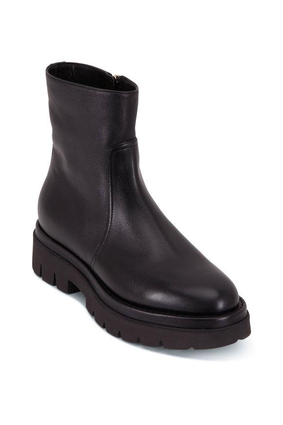 Santoni Black Stretch Leather Platform Bootie