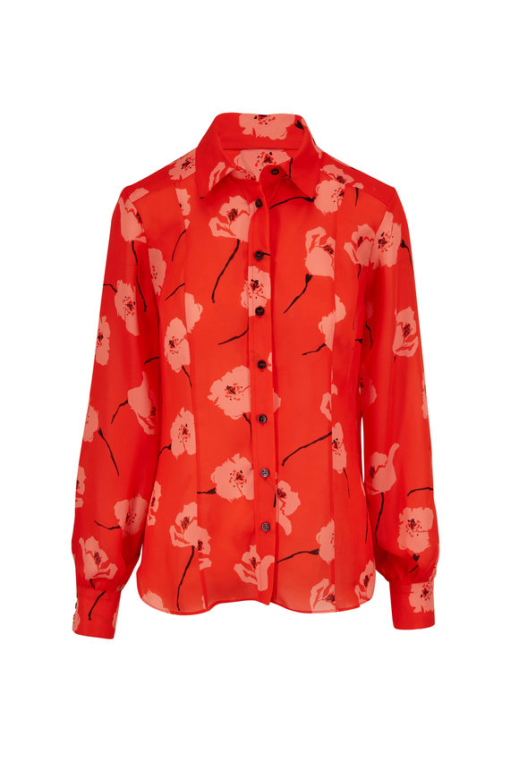 Carolina Herrera Red Poppy Print Button Down Shirt