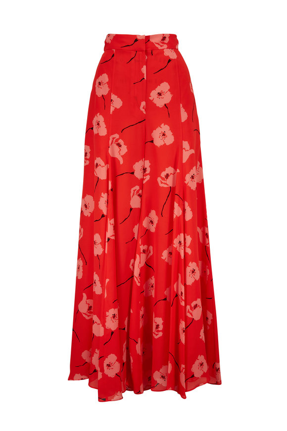 Carolina Herrera Red Poppy Print Wide Leg Pant