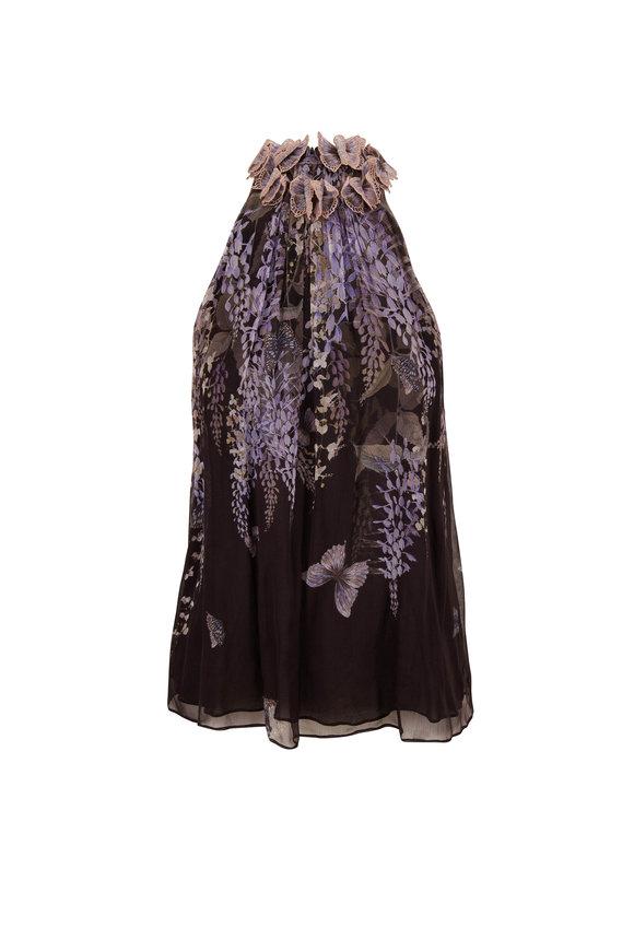 Zimmermann Botanica Black Lavender Tea Silk Sleeveless Blouse