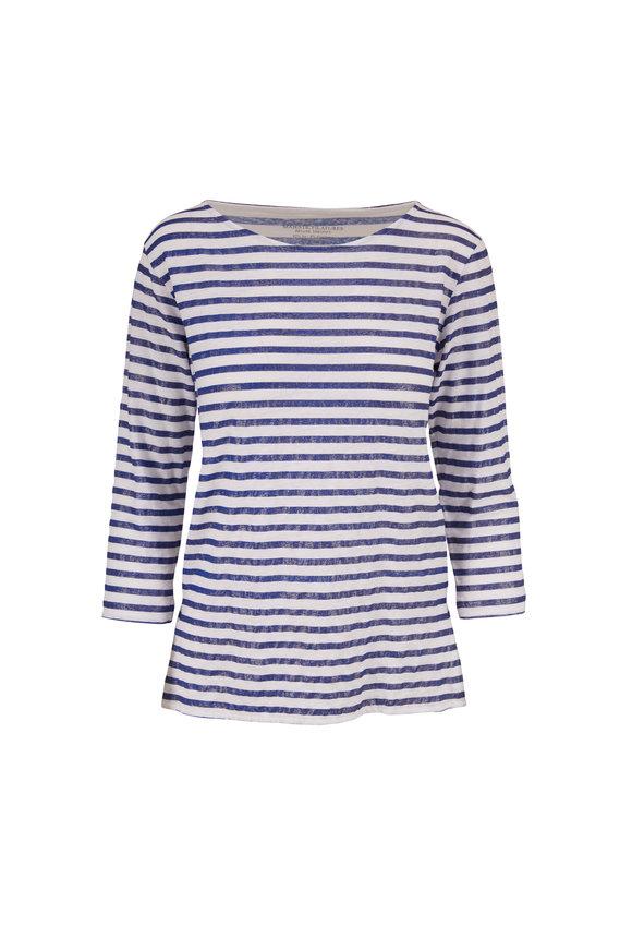 Majestic Navy & White Metallic Stripe T-Shirt