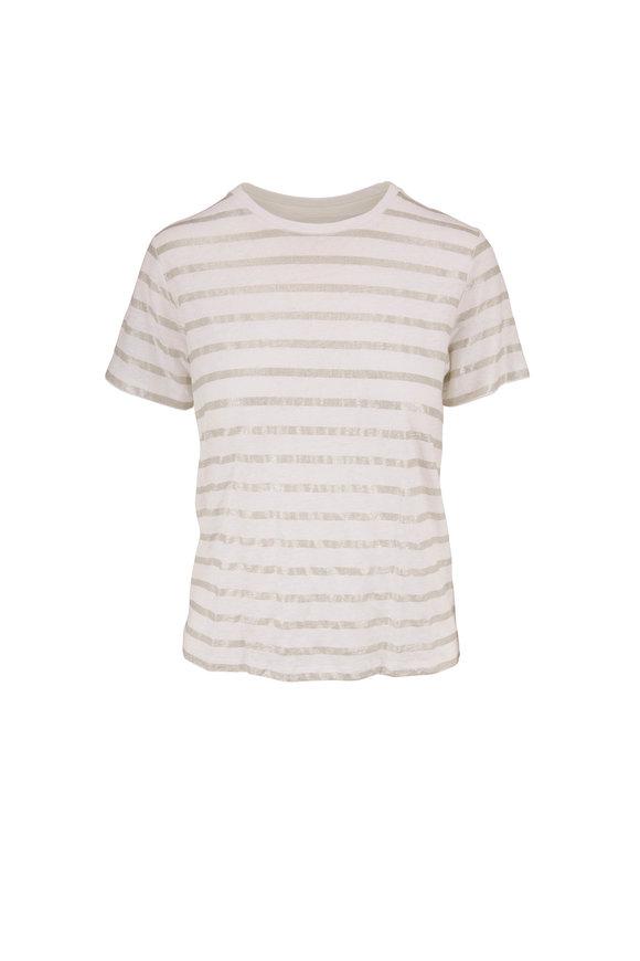 Majestic White & Silver Metallic Stripe Linen T-Shirt
