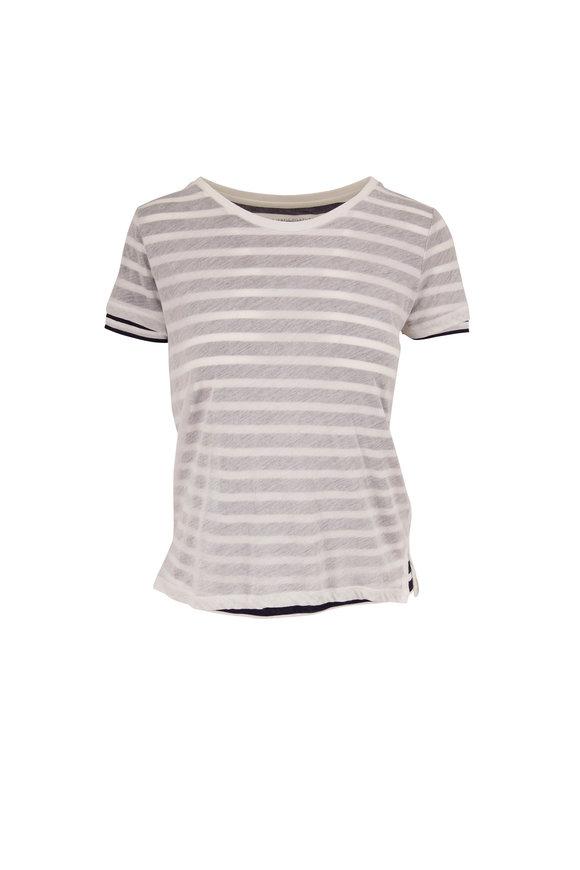 Majestic Marine Blue & White Double Layer T-Shirt