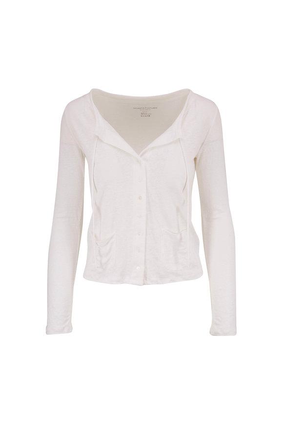 Majestic White Stretch Linen Cardigan