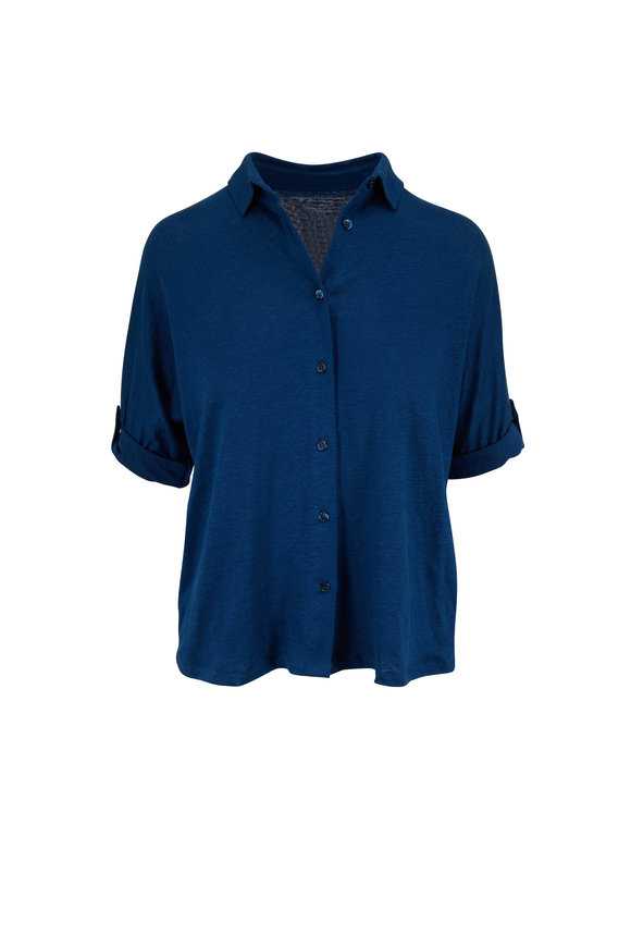 Majestic Blue Semi Relaxed Button-Front Shirt