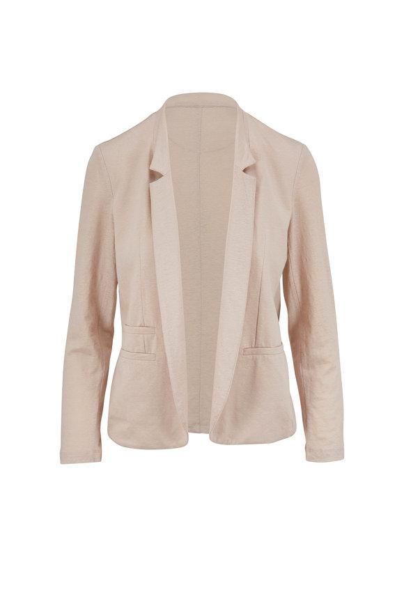 Majestic Beige Linen Open Front Jacket