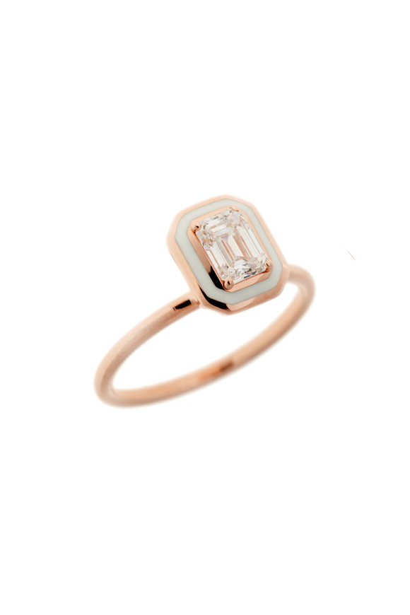 Selim Mouzannar Rose Gold Ivory Enamel Diamond Ring