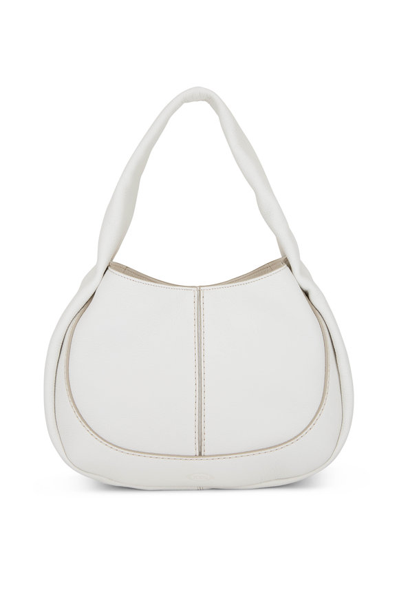 Tod's Shirt Hobo White Leather Small Handbag