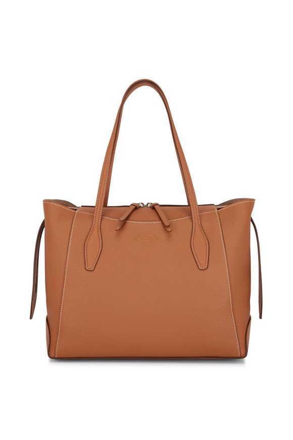 Tod's Cognac Leather Medium Shop Tote
