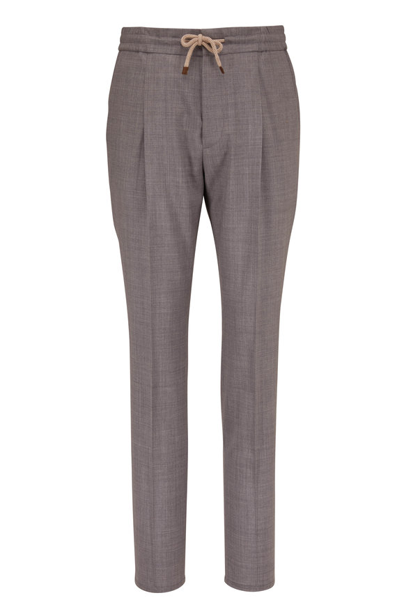 Brunello Cucinelli Gray Drawstring Wool Pant