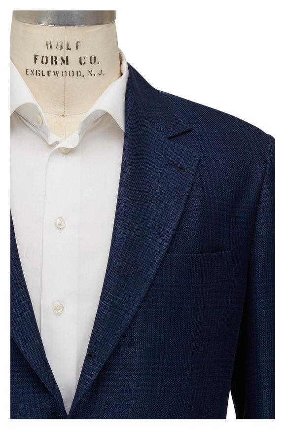 Brunello Cucinelli Blue Tonal Plaid Linen, Wool & Silk Sportcoat