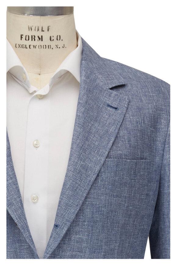 Brunello Cucinelli Denim Blue Linen, Wool & Silk Sportcoat