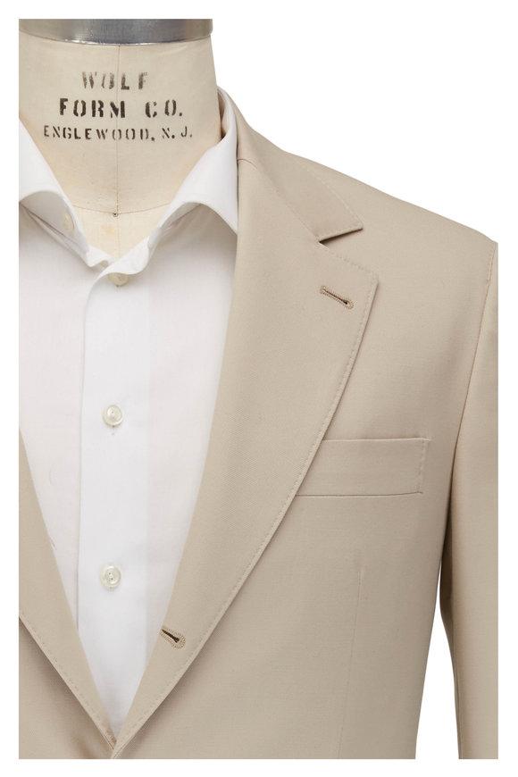 Brunello Cucinelli Sand Stretch Wool & Cotton Suit