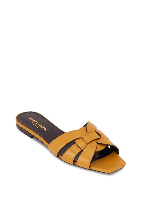 Saint Laurent Tribute Yellow Leather Flat Sandal