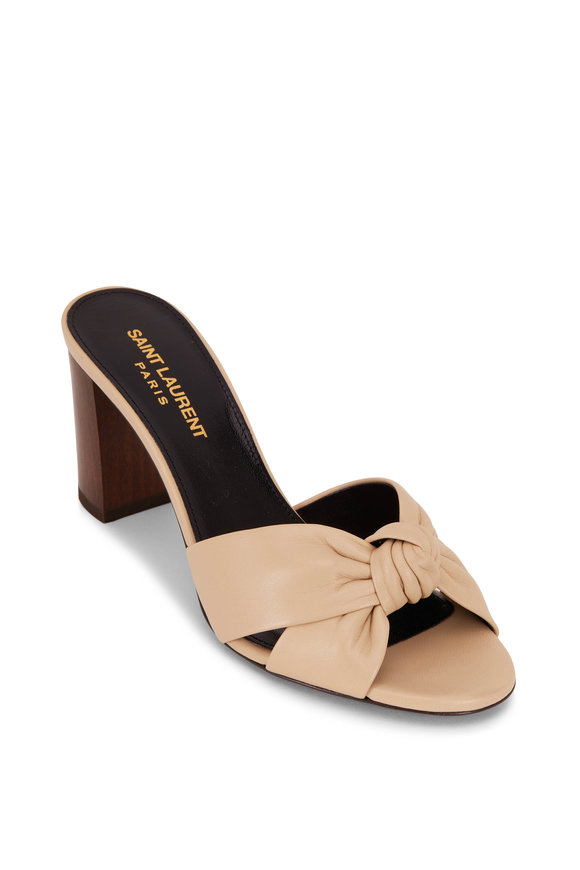 Saint Laurent Bianca Beige Leather Knotted Mule, 75mm