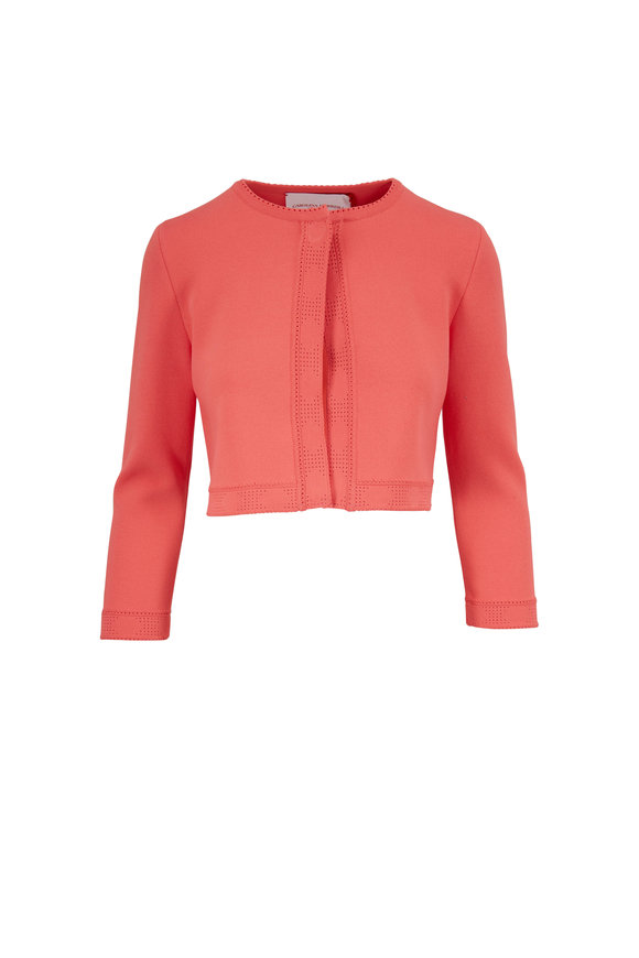 Carolina Herrera Coral Pointelle Stitch Cropped Cardigan