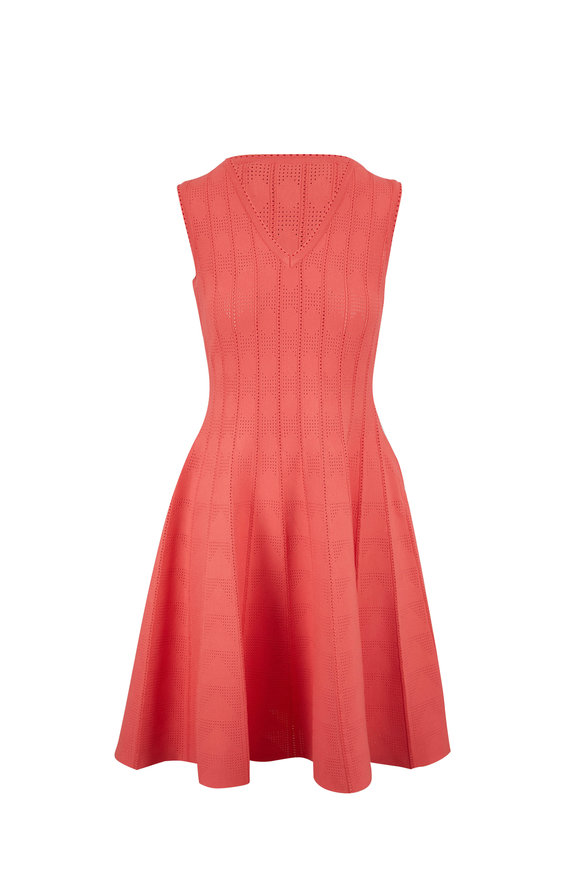 Carolina Herrera Coral Sleeveless Pointelle Stitch Dress