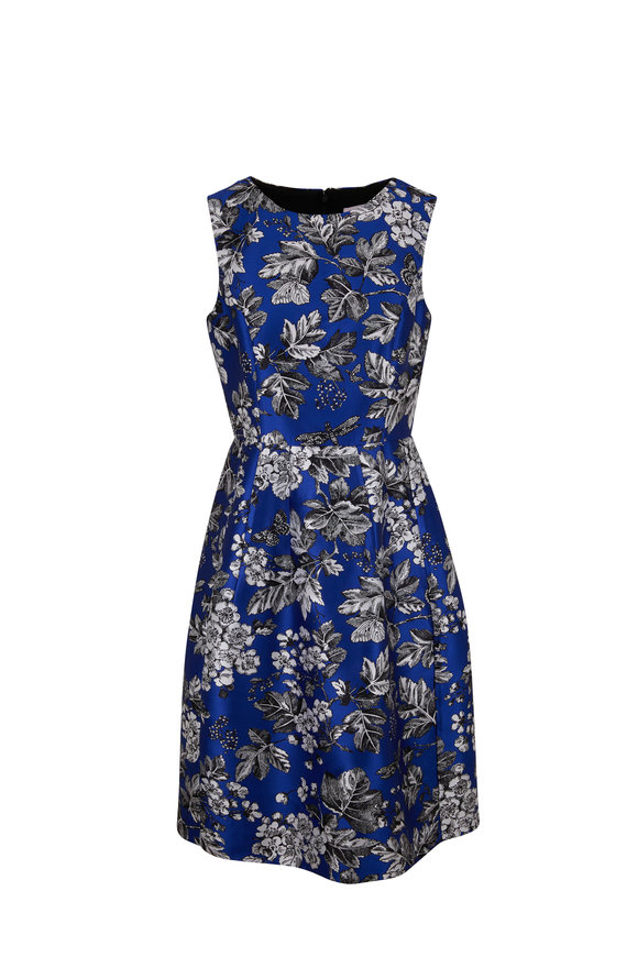 Carolina Herrera Cobalt Blue Leaf Jacquard Sleeveless Dress